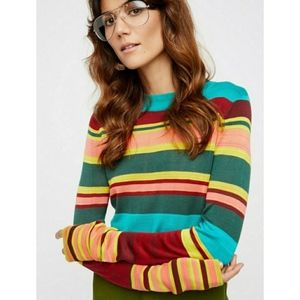 Free People Show Off Your Stripes Sweater Crew L